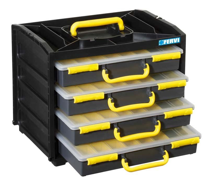 Rack With 4 Plastic Tool Organizer Boxes C313 Plastic