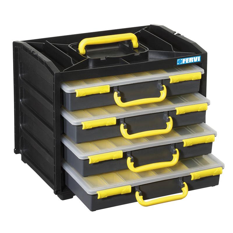 Cassettiere In Plastica Per Minuterie.Cassettiera Con 4 Valigette Porta Minuteria C313 Contenitori In